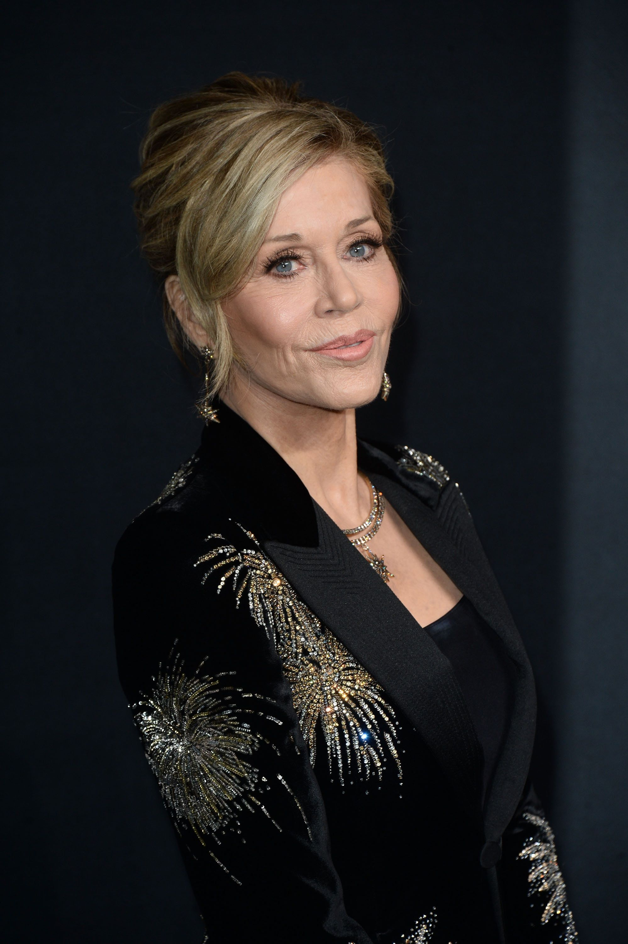 LOS ANGELES, CA - FEBRUARY 10:  Actress Jane Fonda, in Saint Laurent by Hedi Slimane, arrives at the Saint Laurent show at the Hollywood Palladium on February 10, 2016 in Los Angeles, California.  (Photo by Matt Winkelmeyer/Getty Images)