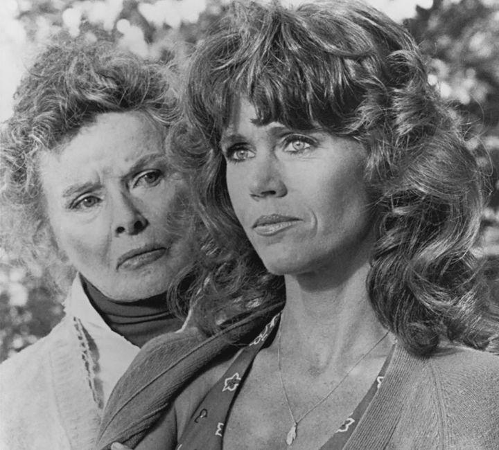 "Katharine Hepburn as Ethel Thayer and Jane Fonda as Chelsea Thayer Wayne in ""On Golden Pond."""