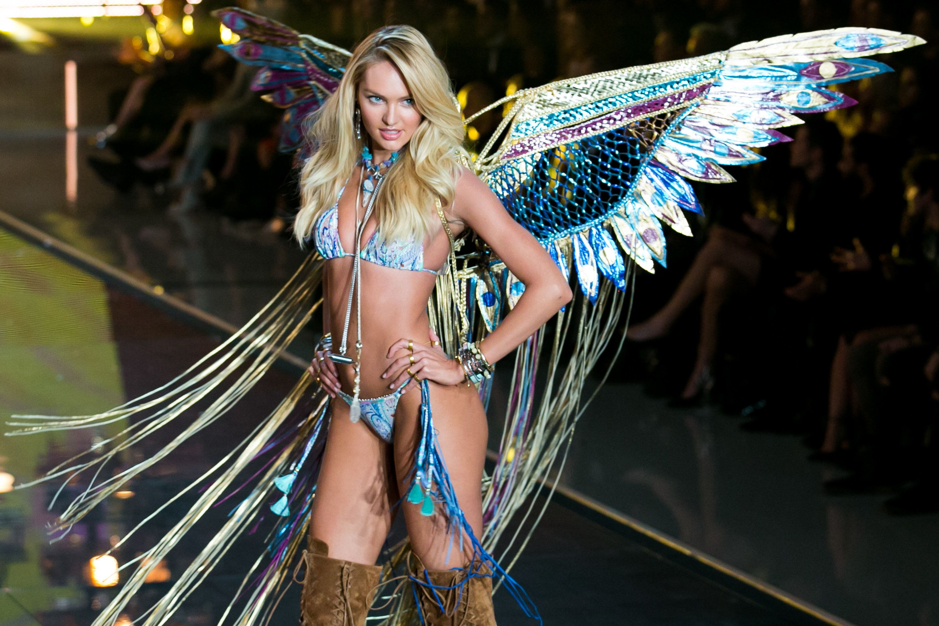 CNBC EVENTS -- 2015 Victoria's Secret Fashion Show -- Pictured: Model   Candice Swanepoel walks the runway during the 2015 Victoria's Secret Fashion Show in New York City on November 10, 2015.  -- (Photo by: Adam Jeffery/CNBC)