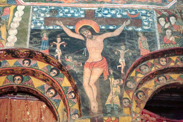 The crucifixion is depicted in this fresco from the Debre Berhan Selassie church in Ethiopia.