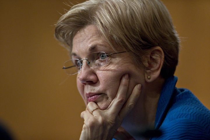 Senator Elizabeth Warren, a Democrat from Massachusetts, listens during a Senate Banking Committee hearing with Janet Yellen,