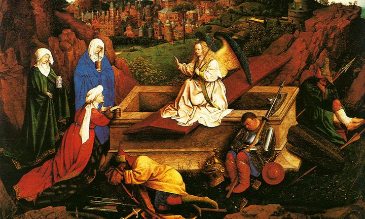 In this painting from 1440, three women visit Jesus' tomb. But his body is no longer there. In its place,they find an a