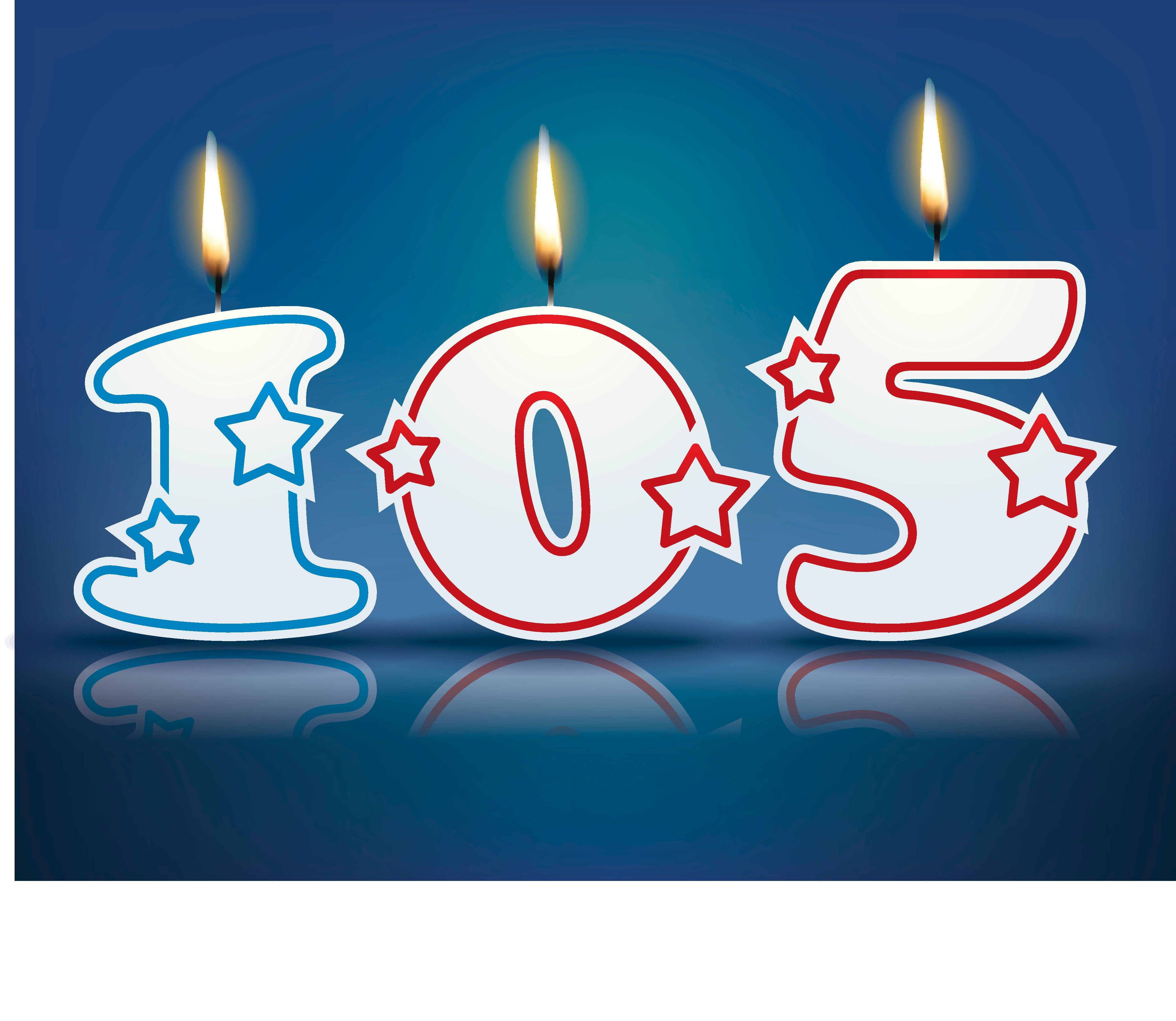 Birthday candle number 105 with flame - eps 10 vector illustration