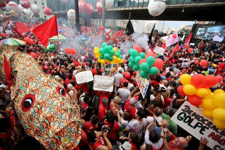 Other Brazilians demonstratein support of President Dilma Rousseff and former President Lula da Silva in Sao Paulo on M