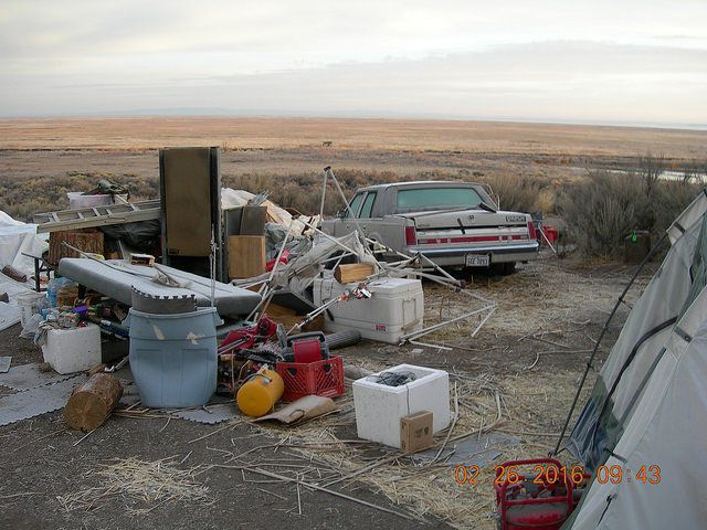 Another view of the trashed camp outside.