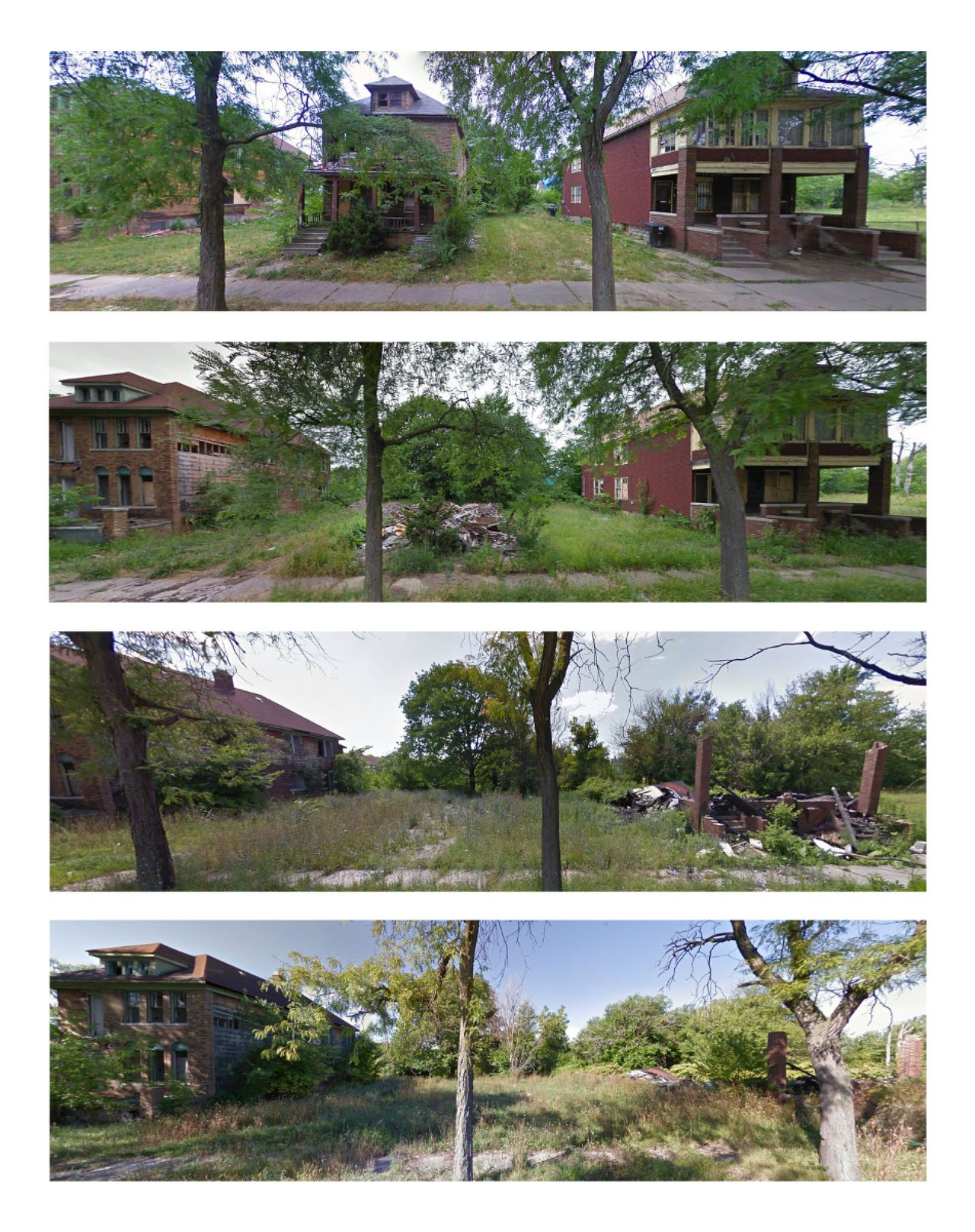 Northfield Street in the Southwest neighborhood of Detroit is shown in July 2009, June 2011, July 2013 and September 2015 Google and Bing images.