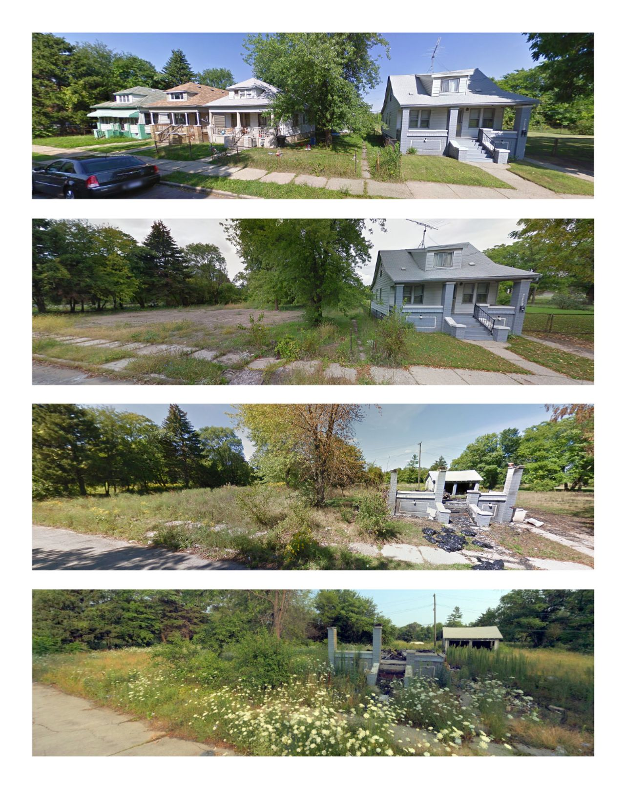 Montlieu Street is shown in September 2009, September 2011, September 2013 and August 2014 images from Google and Bing.