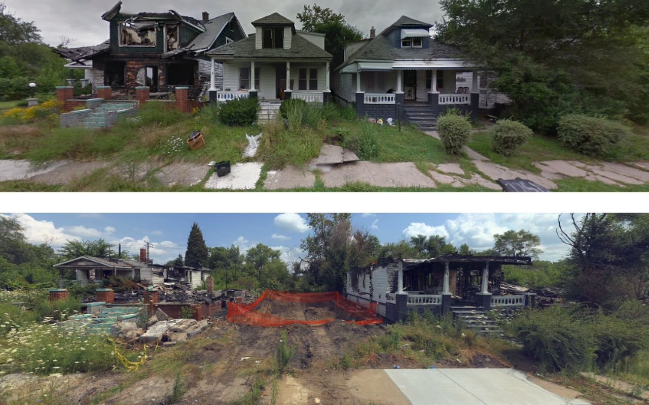 This Mackay Street block is shown in Google and Bing screenshots from September 2013 and August 2014. Alex Alsup uses the sites' map tools to captures images of the same homes year after year to document the abandonment and destruction that often follow when a home in Detroit goes through foreclosure.