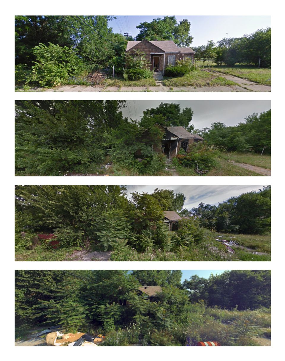 This section of Longacre Street sits between two freeways. Google and Bing captured the lone house in...