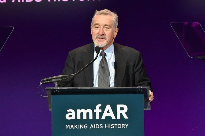 Actor Robert De Niro speaks on stage at the 2016 amfAR New York Gala at Cipriani Wall Street on February 10, 2016 in New York