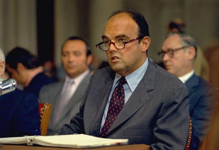 John Ehrlichman in a 1973 photo speaking before the Senate Watergate committee in Washington, D.C. Ehrlichman died in 1999, b