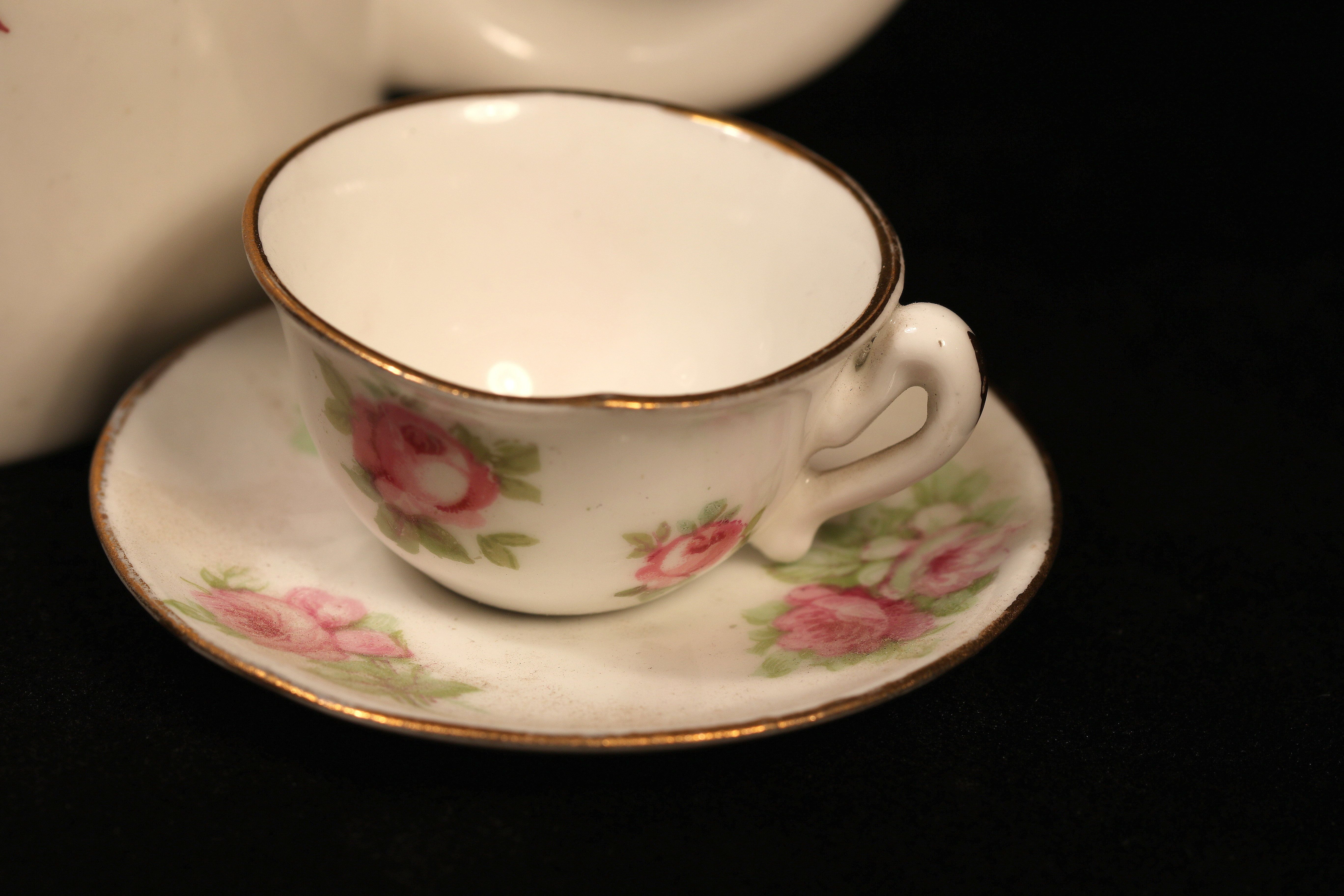"""For 2016: one photo each day (79/366) and for Macro Monday theme """"inheritance"""". My wife inherited this miniature teacup from her grandmother, who collected these things. Although it appears to be made for a dollhouse, it bears the stamp of an English china maker, and was acquired from an antique store in New York City. For scale I placed a normal size coffee mug behind the teacup."""