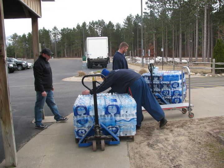 Prisoners atPugsley Correctional Facility load water donated through the contest.