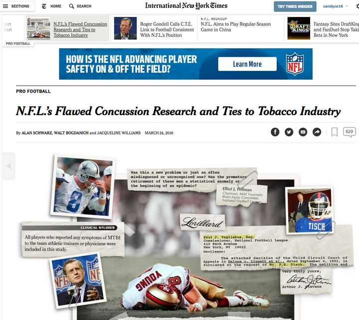 The NFL ran ads in the New York Times adjacent to the story it wished to dispute.