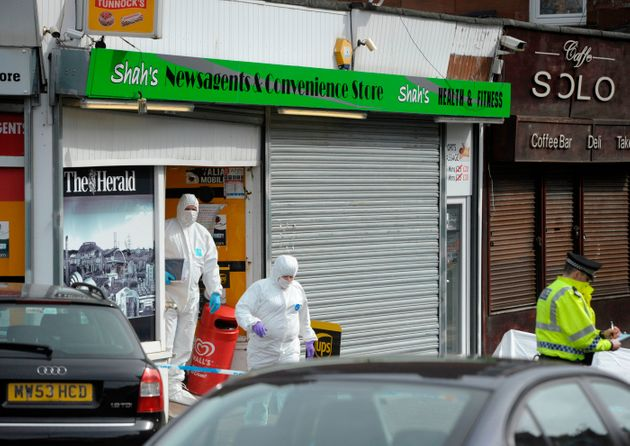 Police on Minard Road, Shawlands, Glasgow, investigating the death of popular shop keeper Asad Shah following...