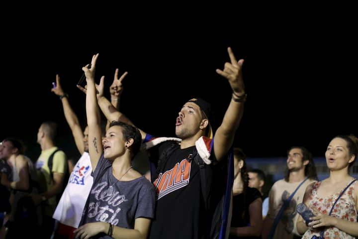 Fans started gathering 18 hours ahead of time at Havana's Sports City football and baseball fields.