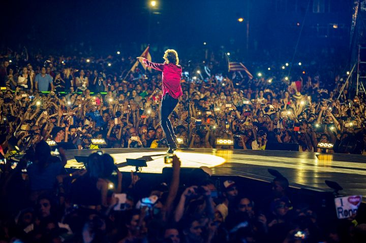 Mick Jagger spoke in Spanish throughout of the 18-song show of hits that lasted more than two hours.