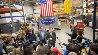 DANE, WI - MARCH 24:  Republican presidential candidate Sen. Ted Cruz (R-TX) speaks to the press before during a campaign stop at Dane Manufacturing on March 24, 2016 in Dane, Wisconsin. Wisconsin voters go to the polls for the state's primary on April 5.  (Photo by Scott Olson/Getty Images)
