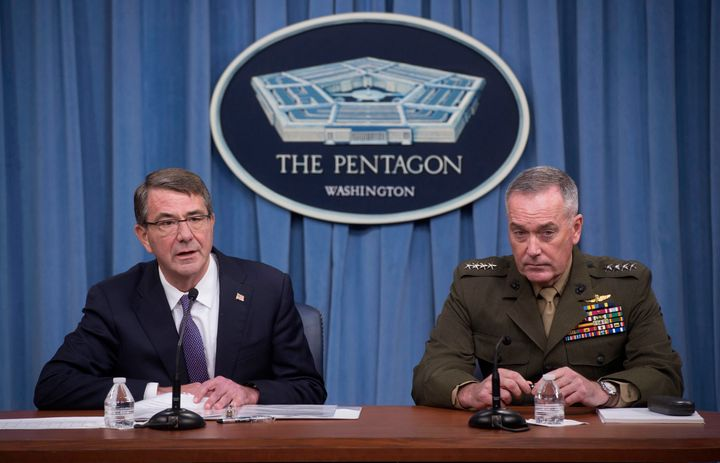 U.S. Secretary of Defense Ash Carter and Chairman of the Joint Chiefs of Staff Gen. Joseph Dunford speak to press about count