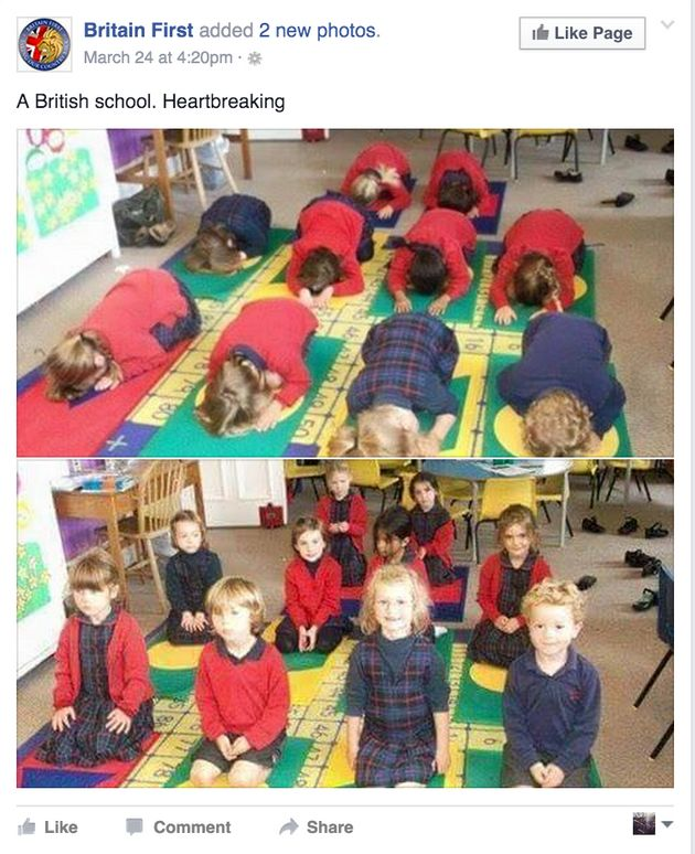 The picture Britain First supporters thought showed British school children being taught Muslim