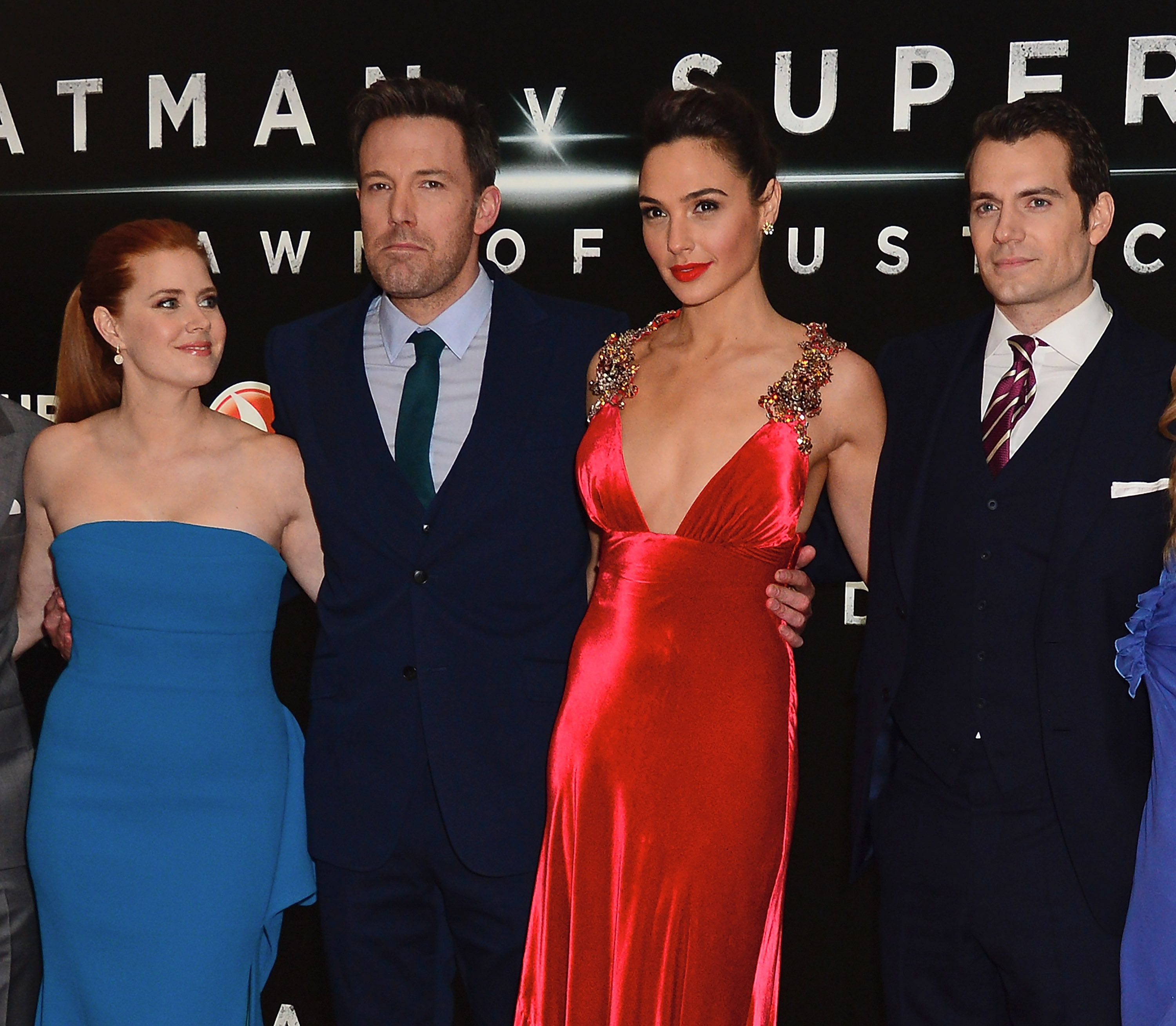 LONDON, ENGLAND - MARCH 22:  (L-R) Amy Adams, Ben Affleck, Gal Gadot and Henry Cavill attend the European Premiere of 'Batman V Superman: Dawn Of Justice' at Odeon Leicester Square on March 22, 2016 in London, England.  (Photo by David M. Benett/Dave Benett/WireImage)