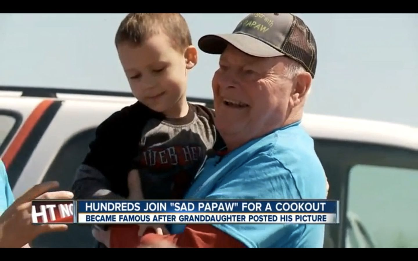 """Kenneth Harmon, more famously known as """"Sad Papaw,"""" is seen posing for photos during a cookout on Saturday."""