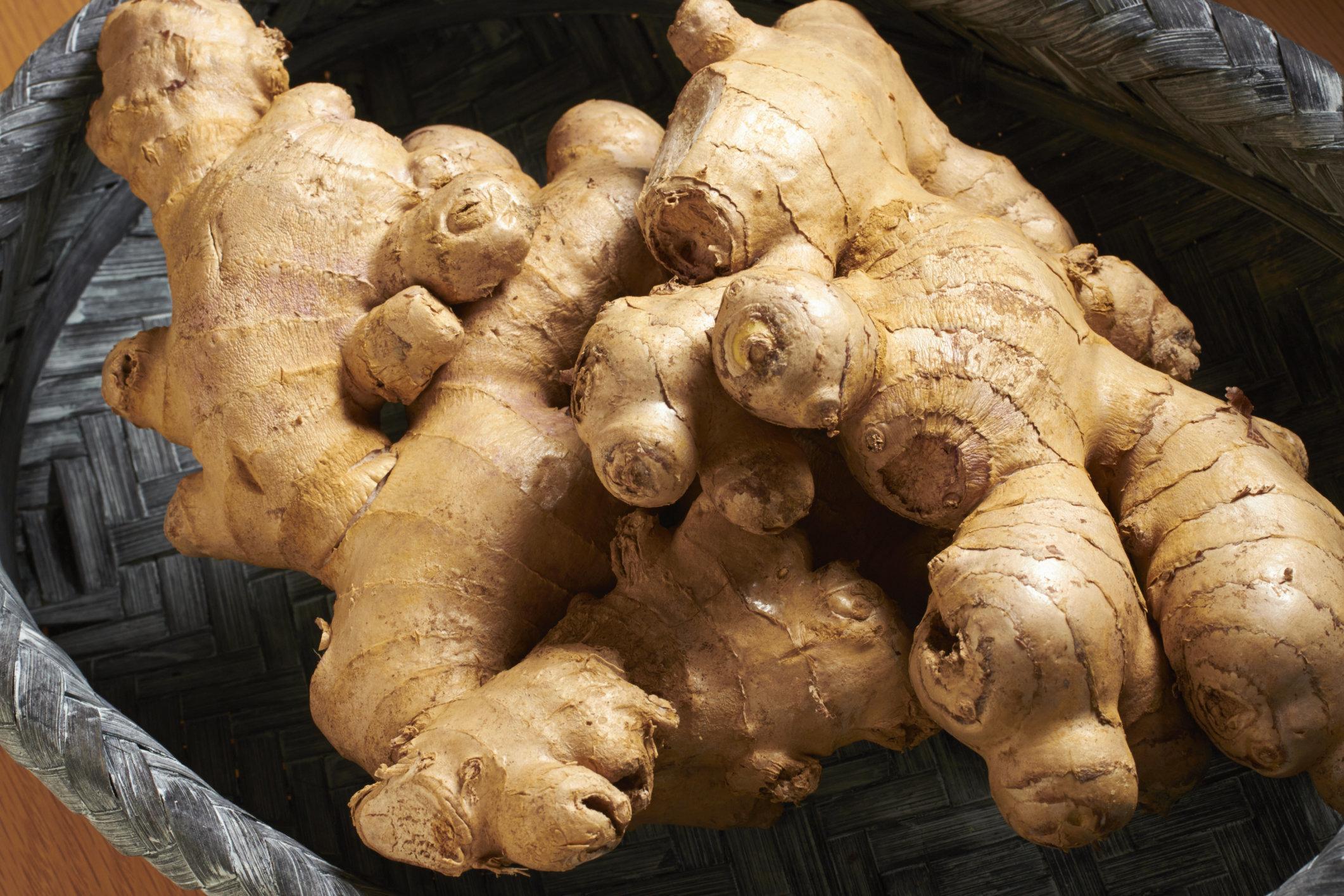 Fresh, raw organic ginger root
