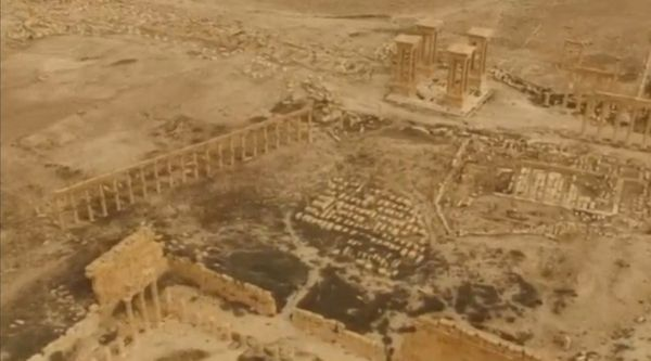 An aerial view of Palmyra on March 28 shows that many of the ancient city's monuments were stillstanding.