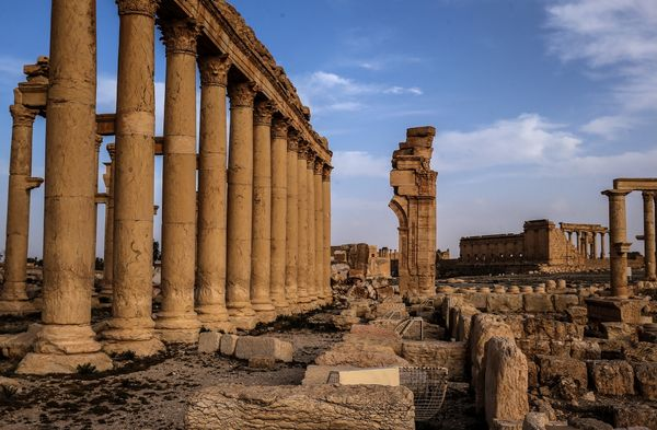 Ruins of the Arch of Triumph, which was destroyed by Islamic State militants in October 2015, remain in Palmyra.