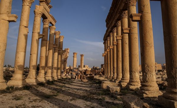 Parts of the Great Colonnade remain in Palmyra.