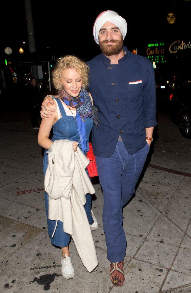 Kylie Minogue arrived with fiancé Joshua