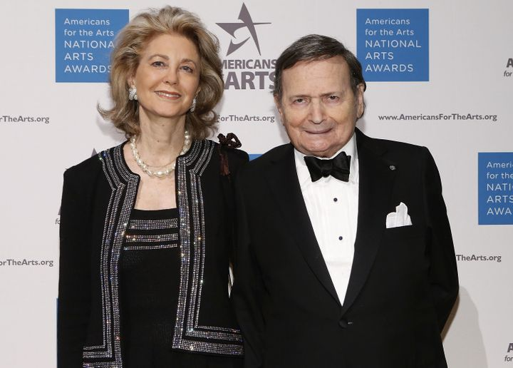 Byron Janis with his wife, Maria Cooper Janis, at the 2012 National Arts Awards at Cipriani 42nd Street on October 15, 2