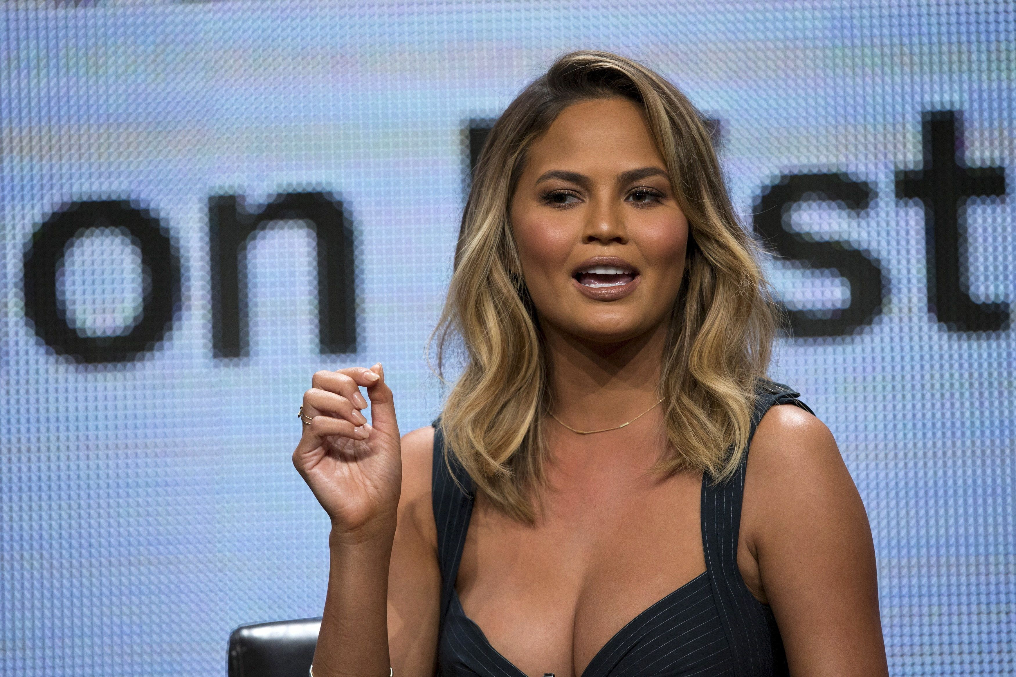"""Chrissy Teigen speaks at a panel for the Disney-ABC television series """"Fablife"""" during the Television Critics Association Cable Summer Press Tour in Beverly Hills, California August 4, 2015. REUTERS/Mario Anzuoni"""