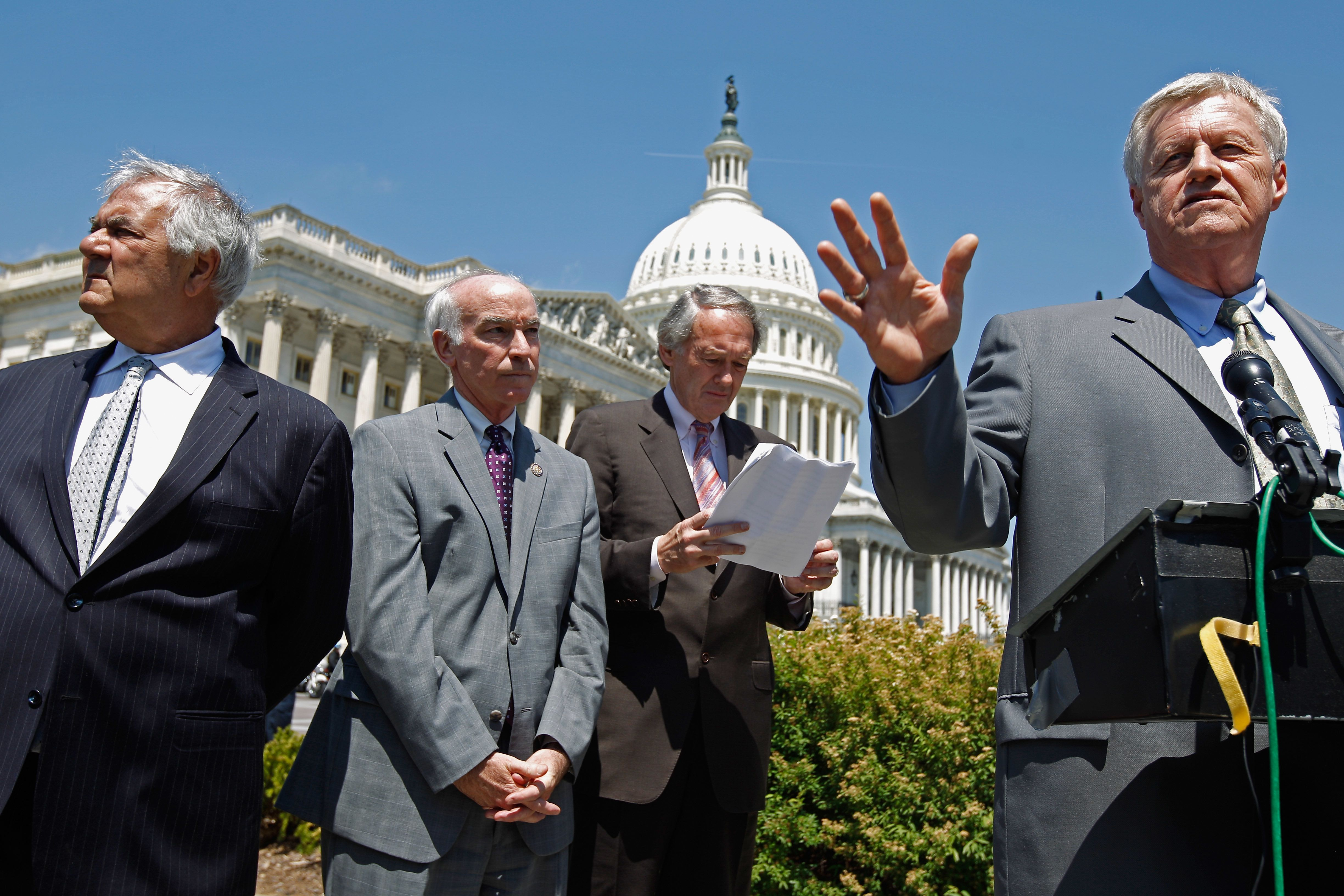 WASHINGTON, DC - MAY 11:  House Agriculture Committee ranking member Rep. Collin Peterson (D-MN) (R) speaks during a news conference with (L-R) Financal Services Committee ranking member Barney Frank (D-MA), Rep. Joe Courtney (D-CT) and Rep. Edward Markey (D-MA) outside the U.S. Capitol May 11, 2011 in Washington, DC. Peterson was joined by members of the House Finacial Services and Agriculture committees to protest what they call Republican efforts to roll back last year's Dodd-Frank financial reform legislation.  (Photo by Chip Somodevilla/Getty Images)