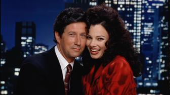 LOS ANGELES - JULY 17: Fran Drescher (right) and Charles Shaughnessy star as Fran Fine Sheffield and Maxwell Sheffield on THE NANNY.  (Photo by CBS via Getty Images)
