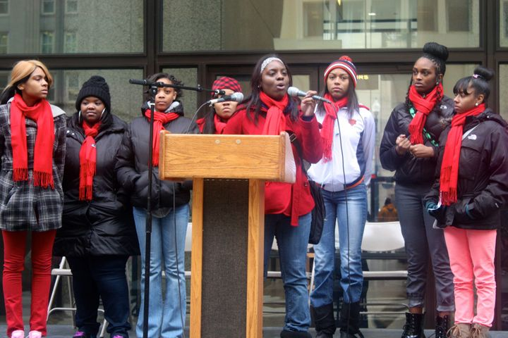 Participants in A Long Walk Home's Girl/Friends Young Leaders Institute join 1 Billion Rising, a global day of