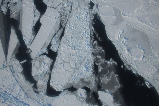 This March 27, 2015 NASA/IceBridge photoshows a mixture of young sea ice forming over the East...