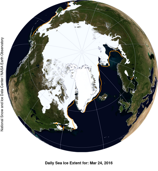 This NASA Blue Marble image shows the extent of Arctic sea ice on March 24, 2016, compared to the boundary...