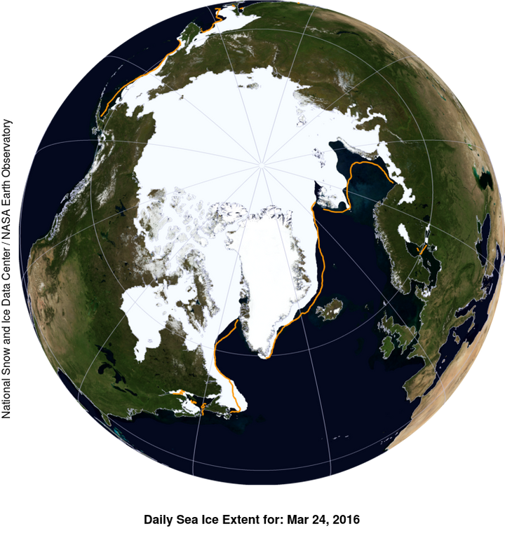 This NASA Blue Marble image shows the extent of Arctic sea ice on March 24, 2016, compared to the boundary of the average max