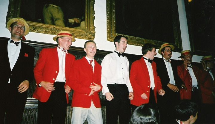 Members of the Lady Margaret Boat Club sing at a boat club dinner in 2005.