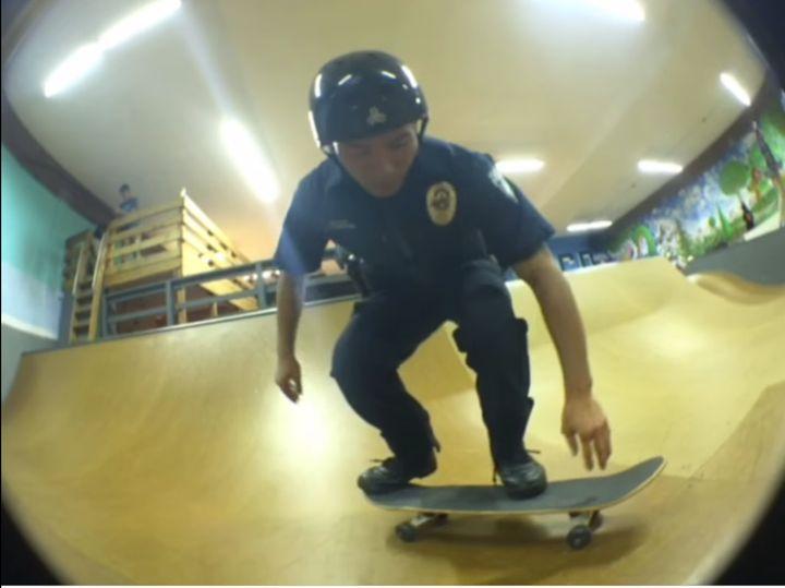 Officer Craig Hanaumi at Bellevue Skatepark.