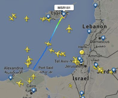 EgyptAir flight MSR181 was en route from Alexandria to Cairo, but landed at Larnaca International Airport on Cyprus.