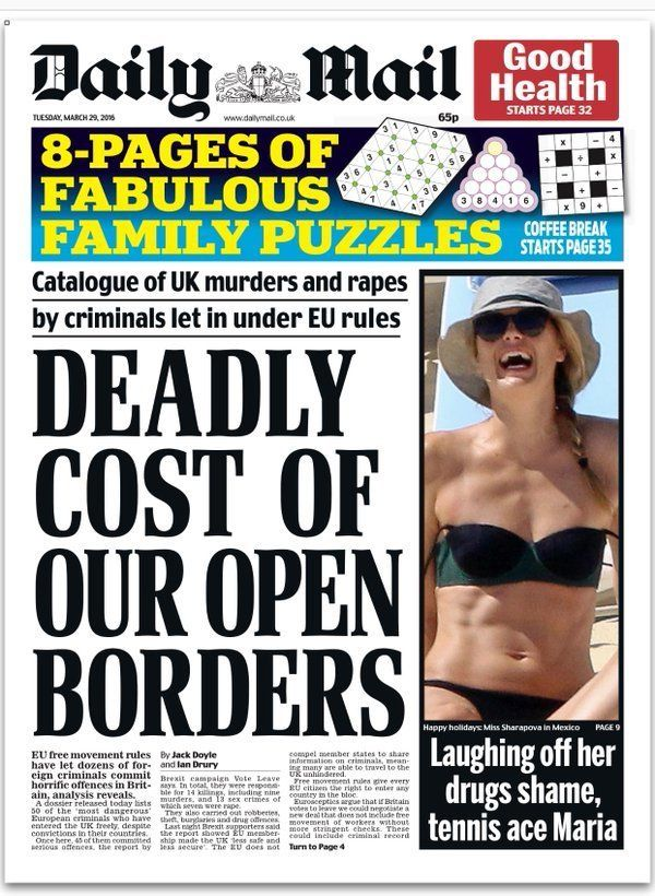 The front page of today's Daily Mail decried the 'deadly' cost of open