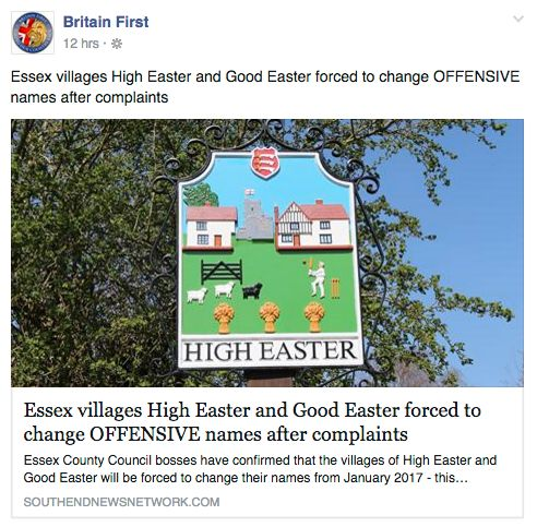 Britain First Falls For Spoof News Article About 'Easter'