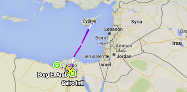 The domestic flight was travelling from Alexandria to Cairo when it was hijacked and taken to Cyprus'sLarnaca...