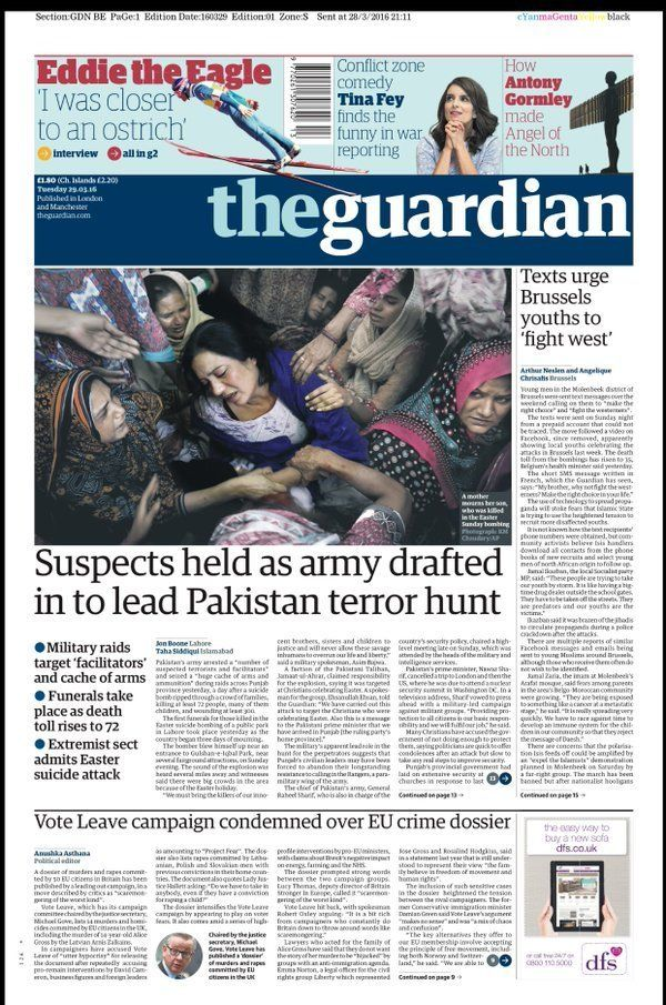 The Guardian angled its story on the condemnation Vote Leave