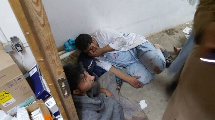 MSF staff hide in the basement as a U.S. attack aircraft repeatedly bombs the trauma clinic in Kunduz, Afghanistan, Oct.