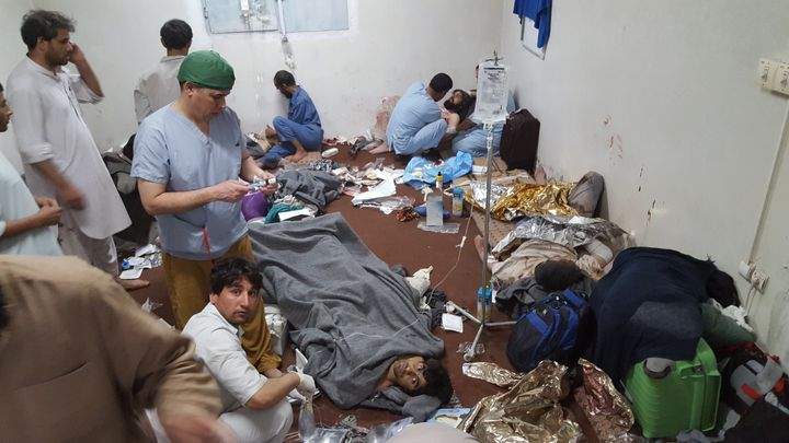 MSF staff performing emergency medical care on victims of the U.S. bombings in the hospital's basement on Oct. 3.