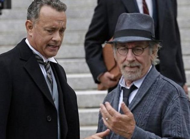 Steven Spielberg on set with his frequent collaborator Tom