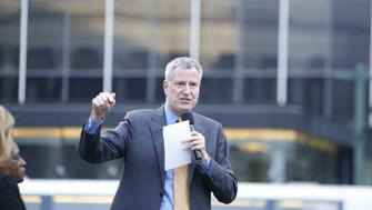 MANHATTAN, NEW YORK CITY, NEW YORK, UNITED STATES - 2016/03/23: Mayor Bill de Blasio makes a point during his presentation. Mayor de Blasio, Chirlane McCray, Melissa Mark-Viverito & HUD director Julian Castro highlighted a rally in Foley Square to celebrate passage of the city's new mandatory inclusionary zoning law to promote affordable housing. (Photo by Andy Katz/Pacific Press/LightRocket via Getty Images)